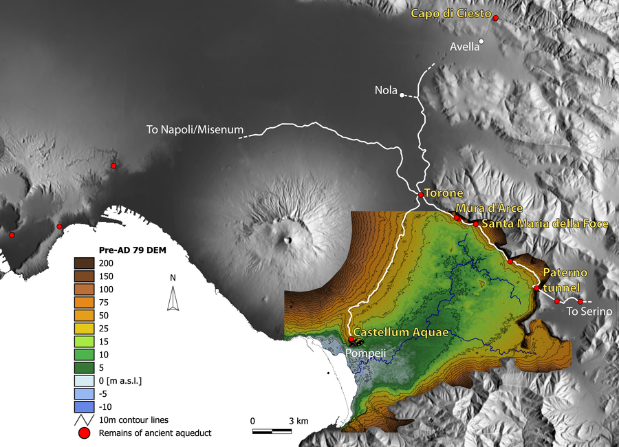 Ancient aqueducts salve sarno river plain ancient life in the pre ad 79 digital elevation model dem of the sarno river plain with the hypothetical course of the ancient aqueduct map svogel gumiabroncs Gallery